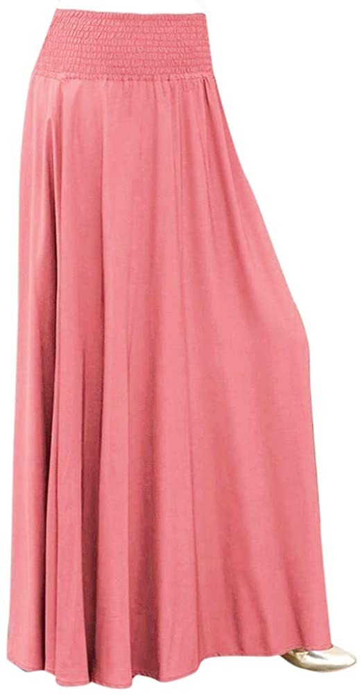 Andouy Women Fashion Elastic Waist Solid Pleated Skirt