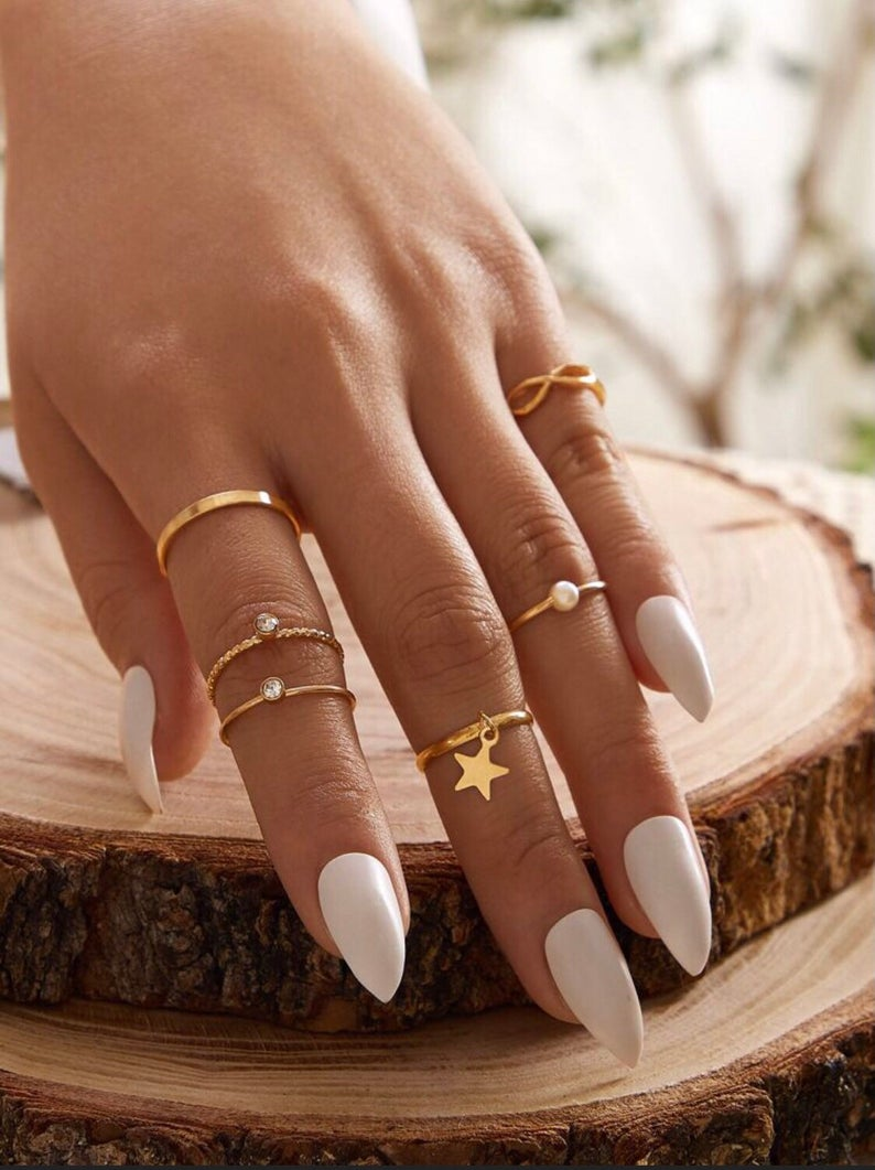6 Piece Slim Gold Stackable Ring Set
