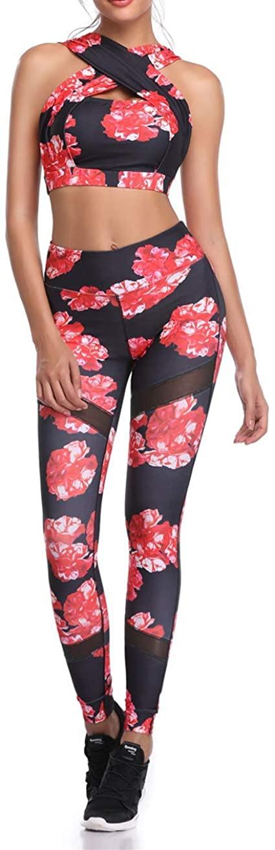 Women's Yoga Tracksuit Printed Sleeveless Halter Vest Crop Top High Waist Leggings Outfits