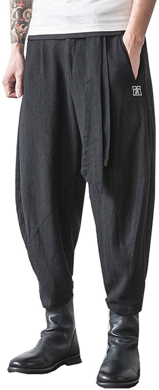 Japanese Samurai Style Boho Casual Low Drop Crotch Loose Fit Harem Baggy Hakama Capri Linen Pants