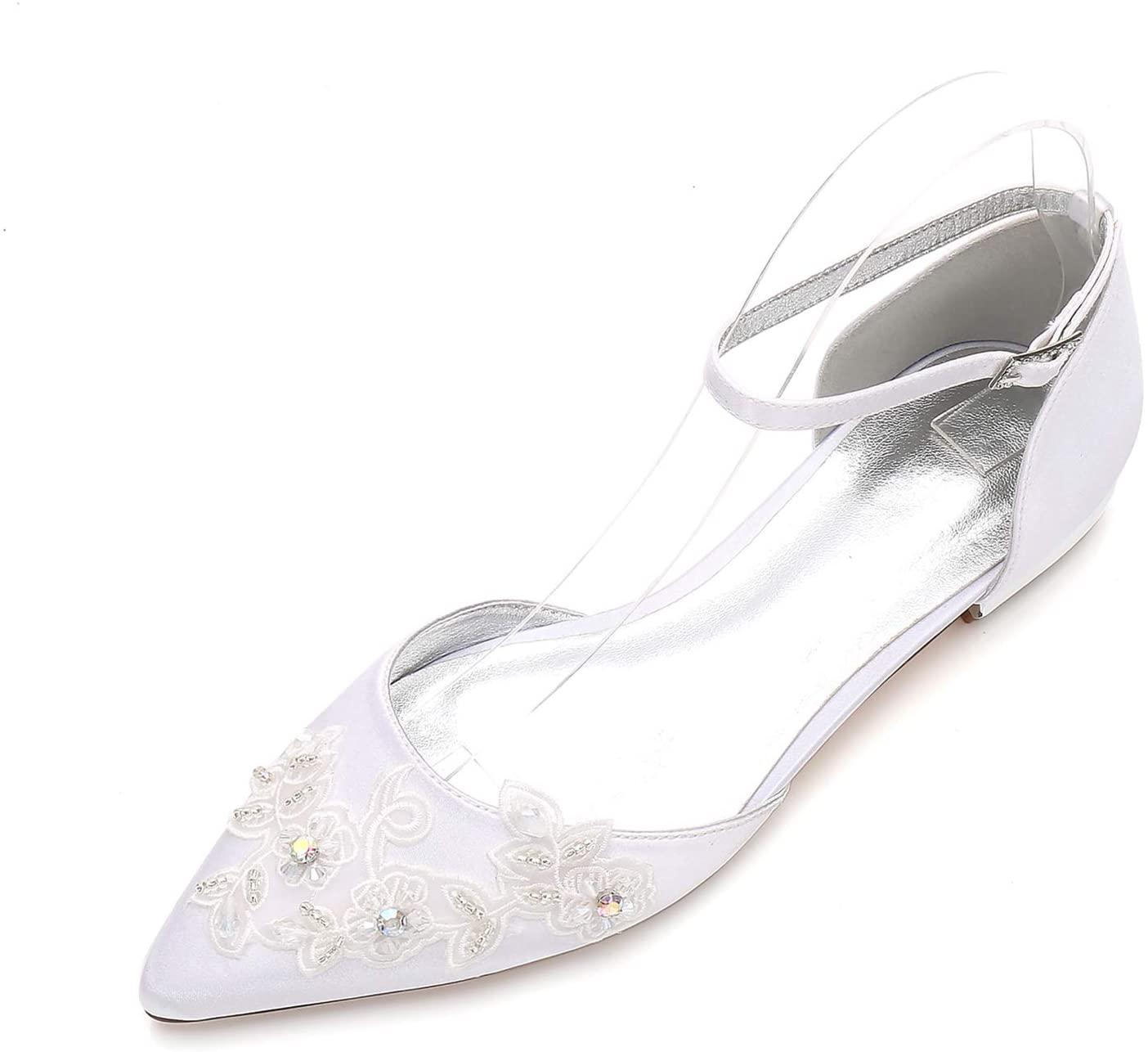 Toe Diamante Lace Flower Satin Ballet Flats
