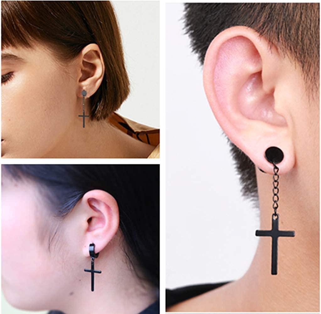 4 Pairs Stainless Steel Cross Dangle Hinged Hoop Earrings