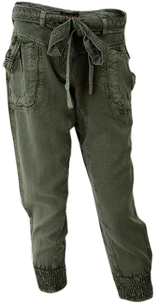 Women's Khaki Crop Belted Trousers / Cargos