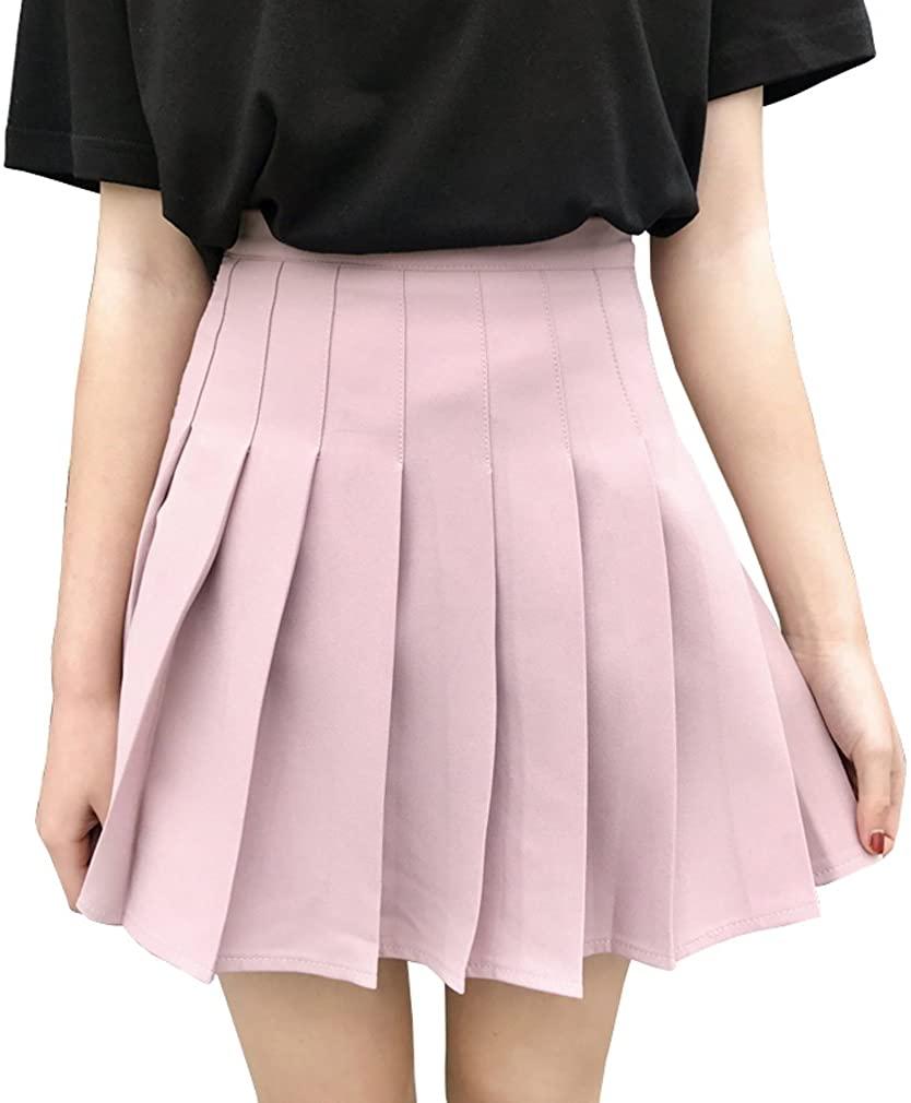 Hoerev Women Girls Short High Waist Pleated Skater Tennis School Skirt
