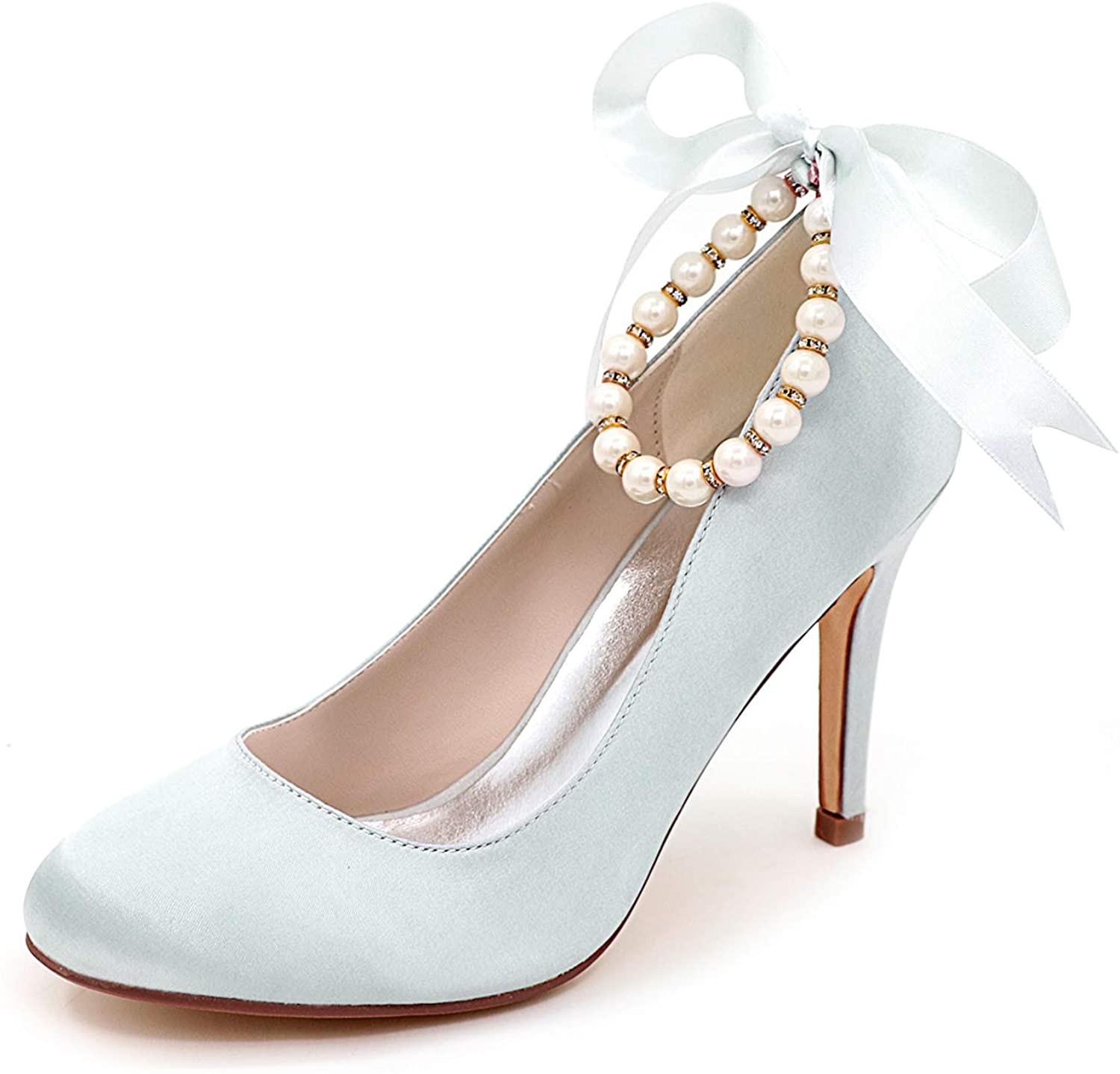 Women's bridal wedding shoes, lace-up formal party dress shoes, satin pearl high heels, women's wedding high heels, bridesmaid shoes