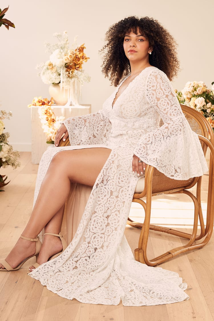 Bell Sleeves White Lace Maxi Dress