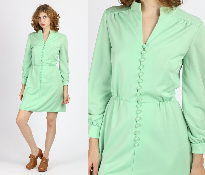 70s Mint Green Button Front Mini Dress