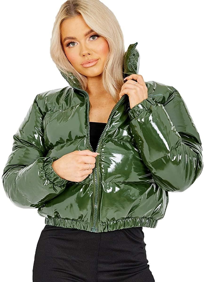Puffer Cropped PVC Shiny Jacket