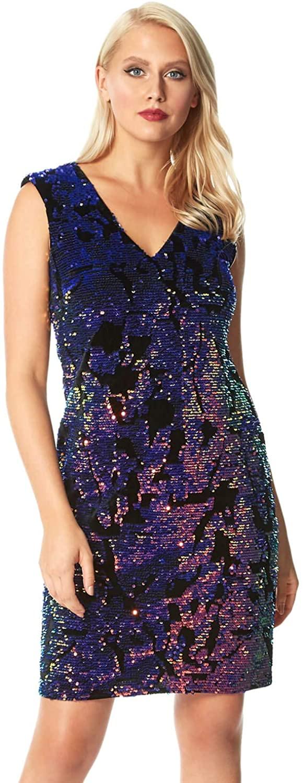 Roman Originals Women Velvet Sequin Embellished Dress