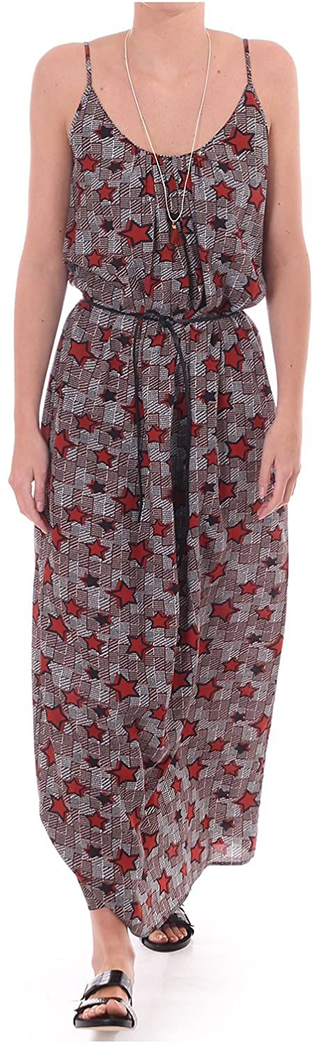 Maison Scotch Maxi Dress with Star Print and Shoestring Straps Red
