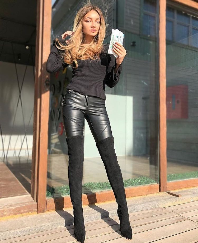 Tall leather leggings
