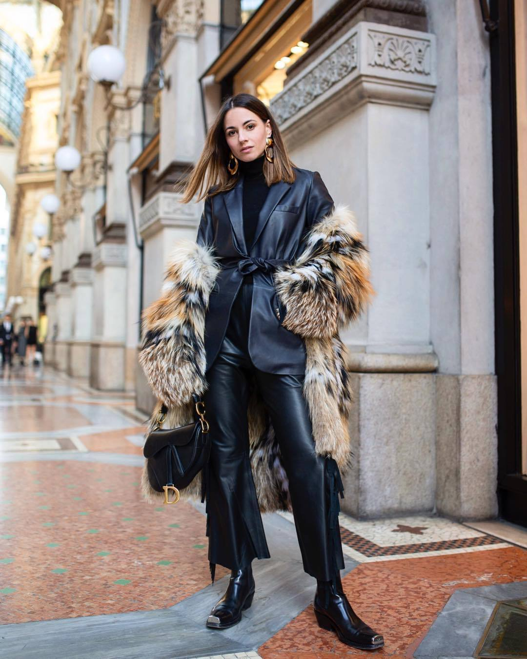 Black High waist Pants with Leather Jacket