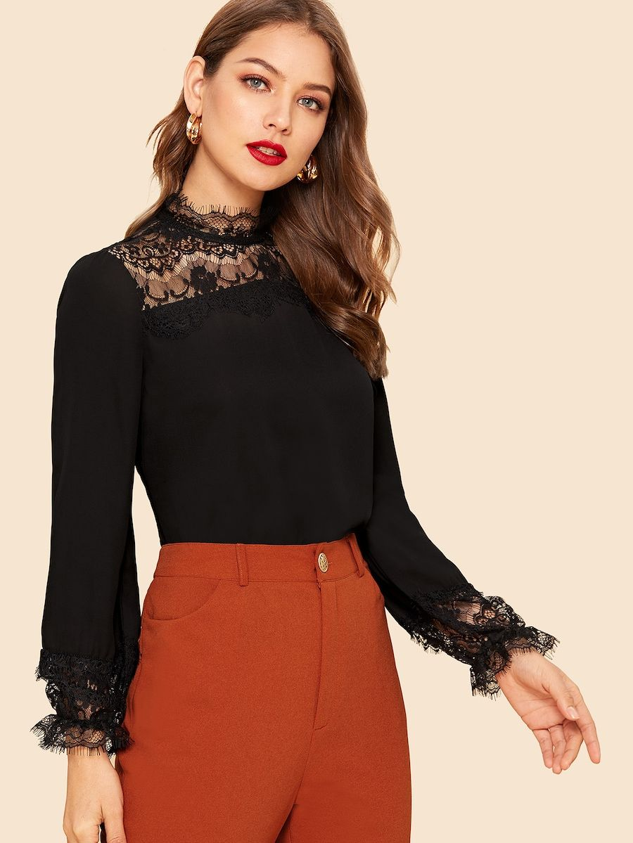 80s Lace Insert Keyhole Back Top