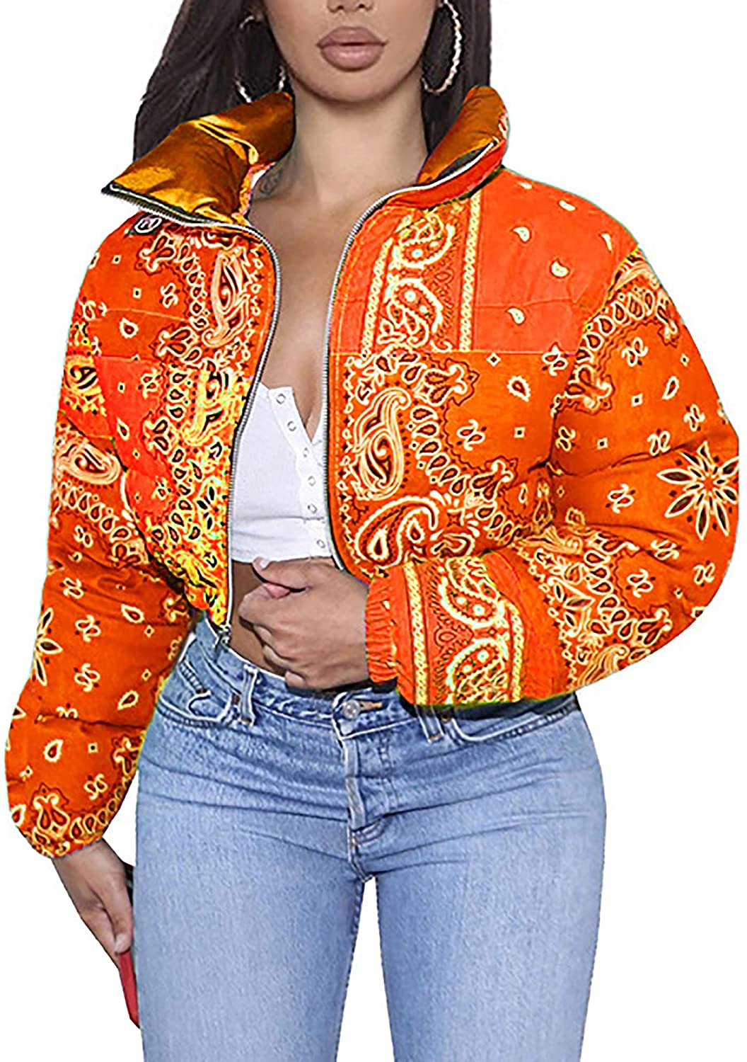 Printed Cropped Puffer Jackets