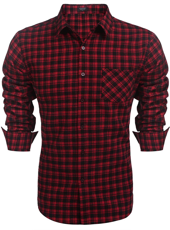 Mens Shirt Casual Long Sleeve Plaid Shirts Checked