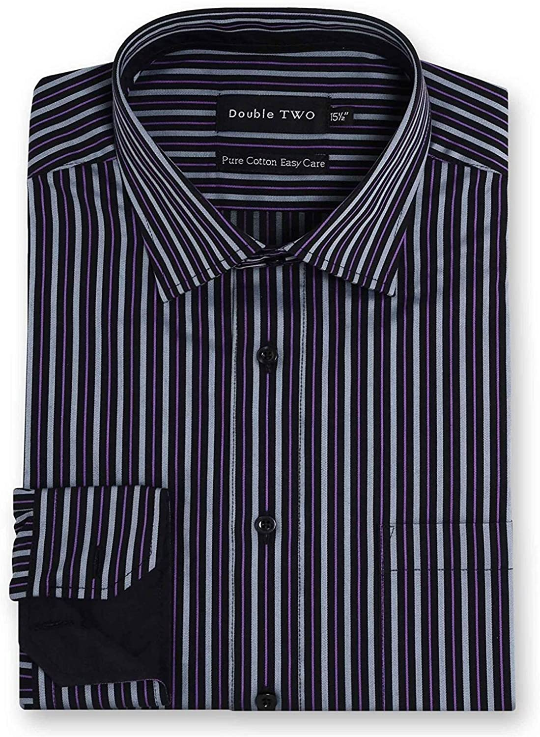 Double Two Mens Easy Care Pure Cotton LS Dark Striped Shirts