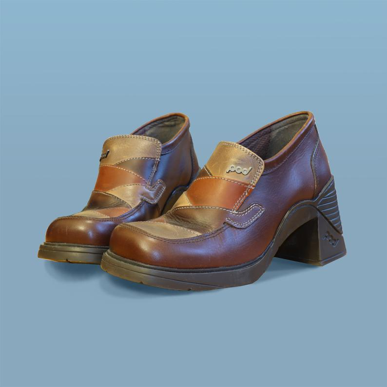 90s Does 70s Brown Patchwork Pod Heeled Loafers