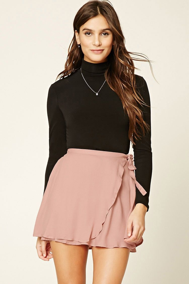 A woven mini skirt