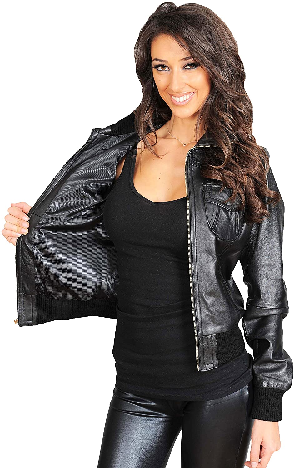 A1 FASHION GOODS Ladies Real Leather Bomber Jacket Trendy Fitted Blouson Coat in Tessa