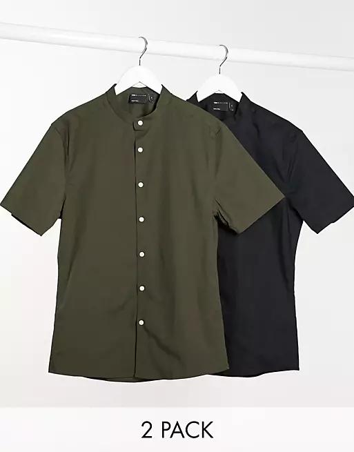 ASOS DESIGN 2 pack skinny fit shirt with grandad collar in khaki/black save