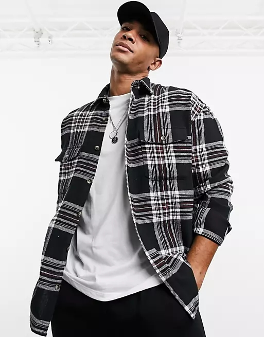 ASOS DESIGN 90s oversized brushed flannel check shirt in large scale tartan