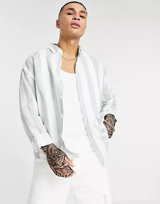 ASOS DESIGN 90s oversized linen shirt in mint retro stripe