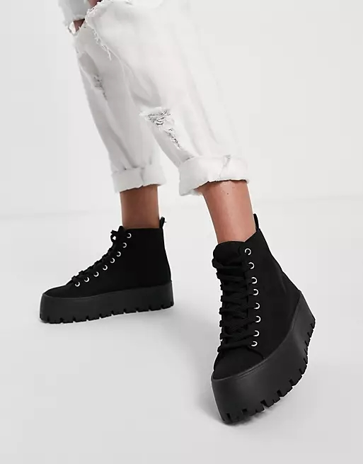 ASOS DESIGN Detra chunky high top canvas trainers in black
