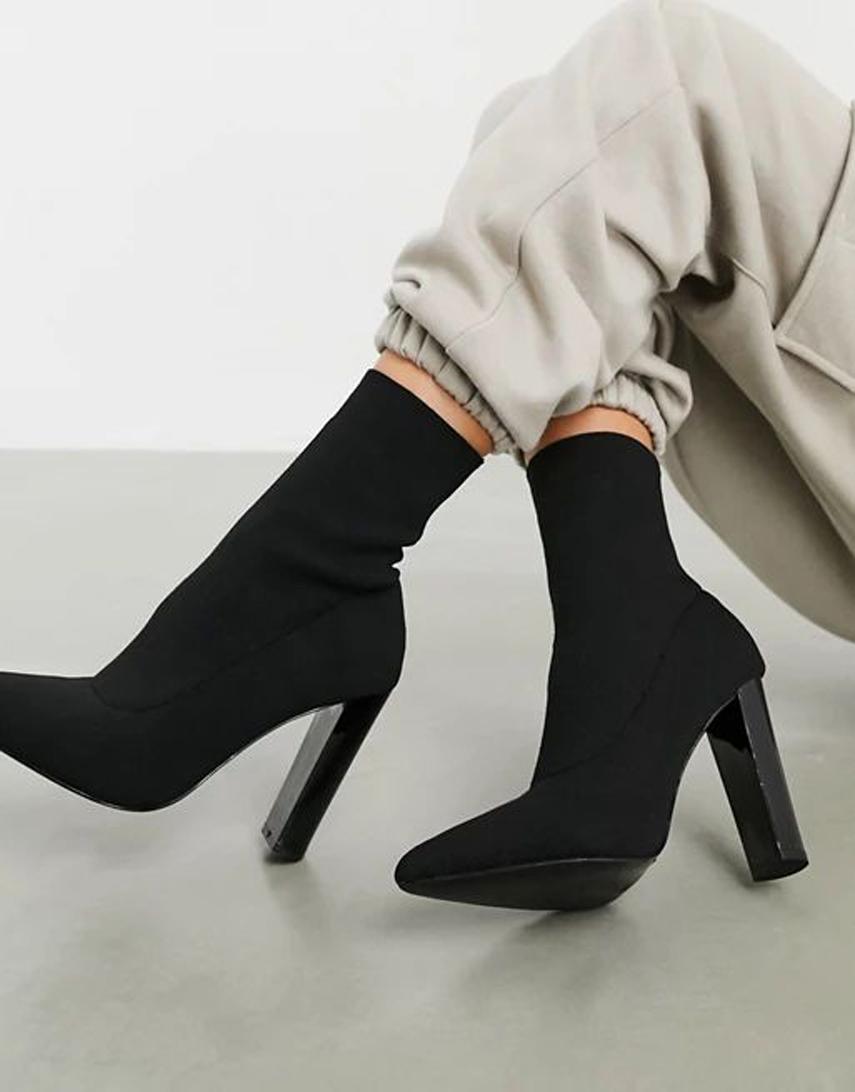 ASOS DESIGN Enhance block heel sock boots in black knit
