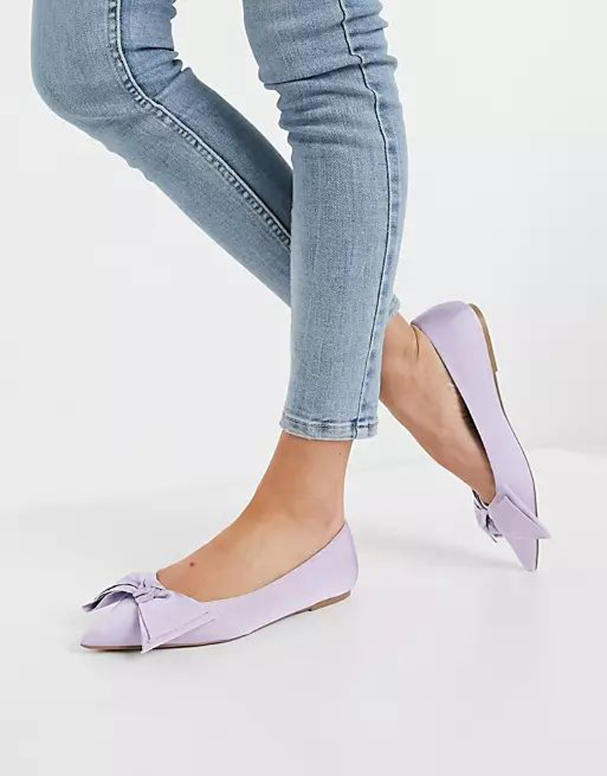 ASOS DESIGN Lonnie bow ballet flats in lilac