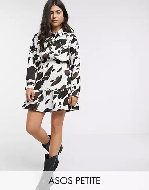 ASOS DESIGN Petite mini shirt dress in cow print