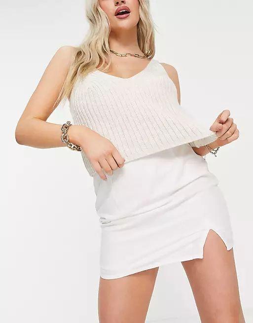 ASOS DESIGN Petite mini skirt in linen look with notch hem in white