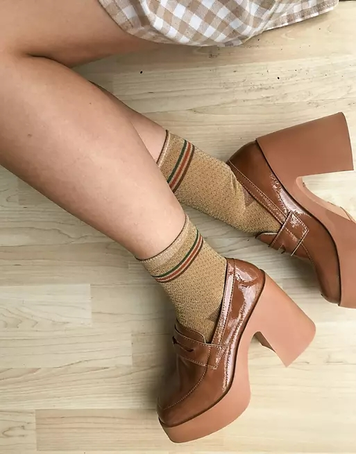 ASOS DESIGN Profile chunky high heeled loafer in tan