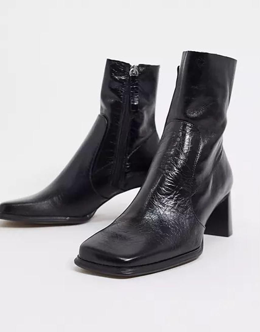 ASOS DESIGN Roisin premium leather square toe boots in black