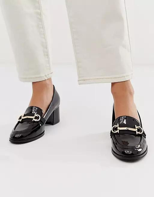 ASOS DESIGN Stirrup mid-heeled loafers in black patent