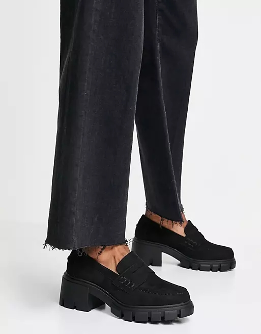 ASOS DESIGN Storm chunky mid heeled loafers in black