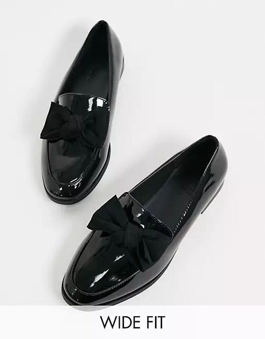 ASOS DESIGN Wide Fit Mollie bow flat shoes in black patent