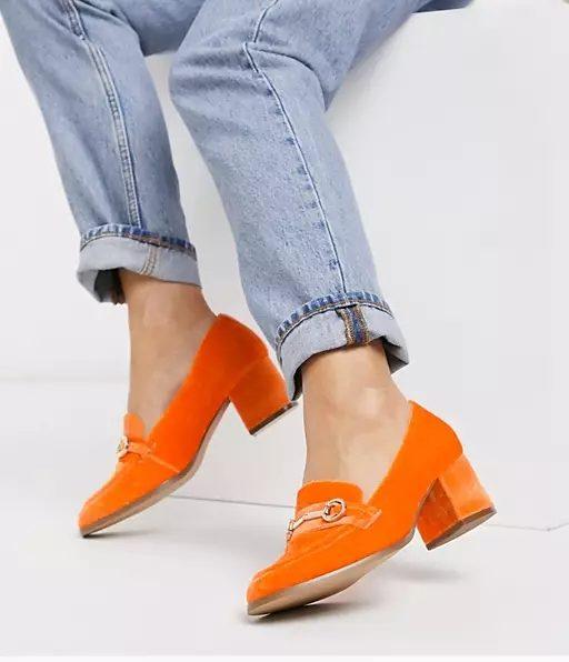 ASOS DESIGN Wide Fit Stirrup mid-heeled loafers in orange velvet