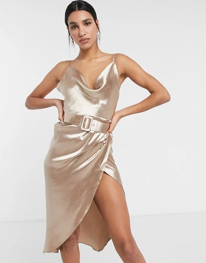 ASOS DESIGN cami satin midi dress with cowl neck and belt in soft Gold