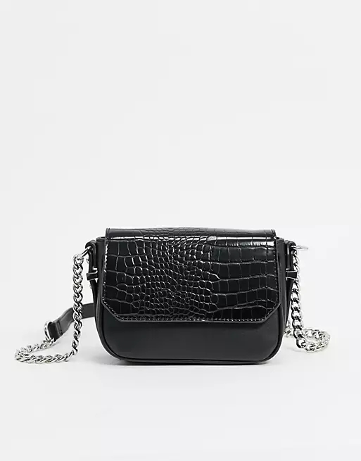 ASOS DESIGN cross body bag in black with croc effect flap