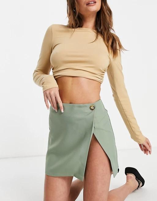 ASOS DESIGN high split wrap mini skirt in sage