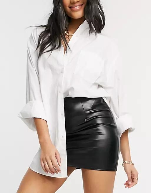 ASOS DESIGN leather look seamed super mini skirt in black