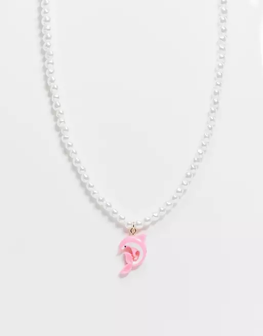 ASOS DESIGN necklace with pearl and dolphin charm