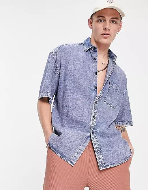 ASOS DESIGN oversized short sleeve denim shirt in acid wash