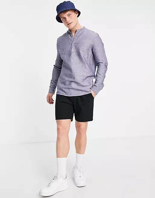 ASOS DESIGN regular fit overhead linen shirt with grandad collar in navy