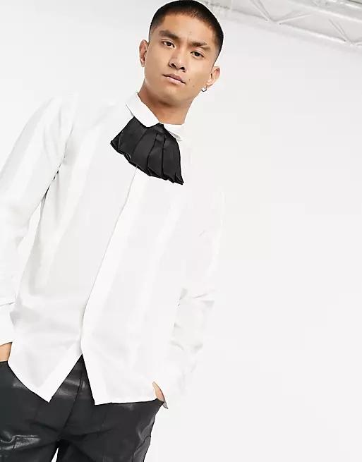 ASOS DESIGN regular fit tonal stripe shirt with detachable ruffle collar detail in off white
