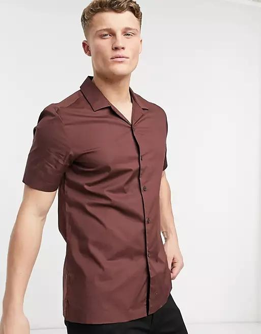 ASOS DESIGN regular short sleeve shirt with revere collar in deep brown