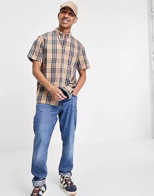 ASOS DESIGN relaxed shirt in seersucker check with standard collar