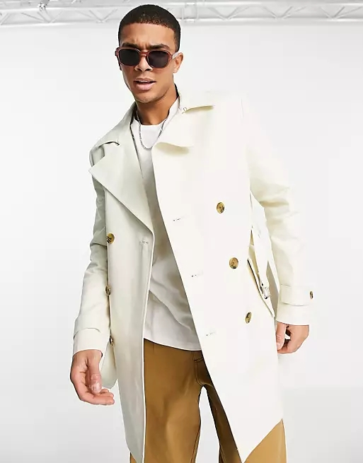 ASOS DESIGN shower resistant double breasted trench coat in stone