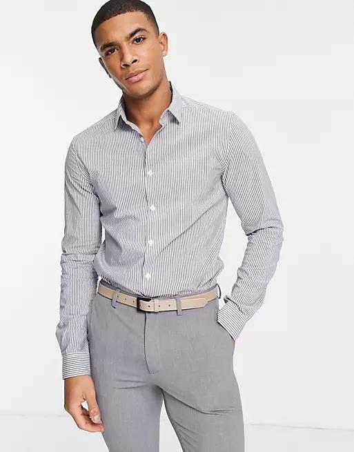 ASOS DESIGN slim fit stripe work shirt in blue