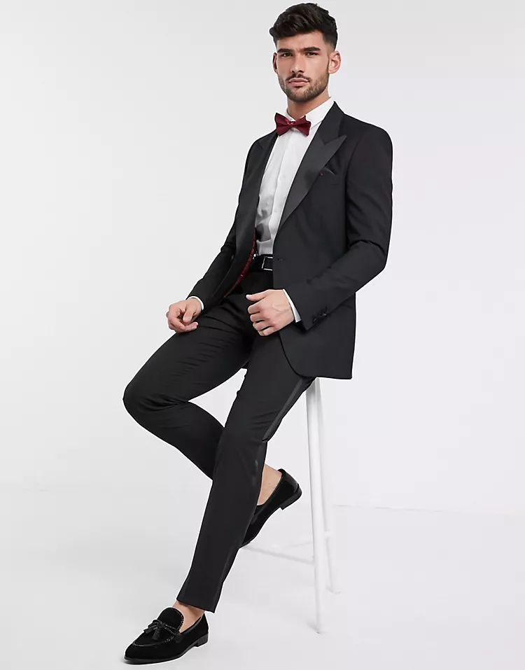 ASOS DESIGN slim tuxedo suit jacket in black